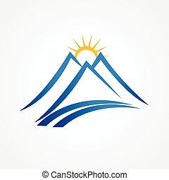 montagnes bleues, ensoleillé, logo