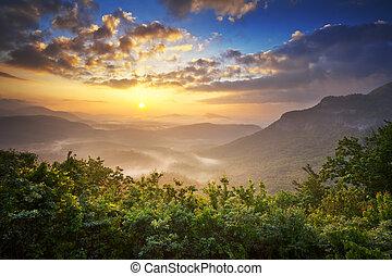 montagnes bleues, pays montagne, arête, nantahala, printemps, négliger, méridional, nc, forêt, scénique, appalachians, levers de soleil