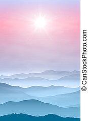 montagnes, brouillard, fond, soleil