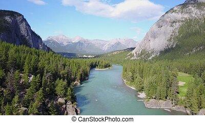 montagnes, canada, parc, rivière, rockies, national, arc, banff