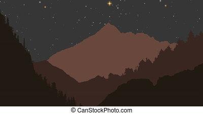 montagnes, ciel, animation, nuit, fond, contre