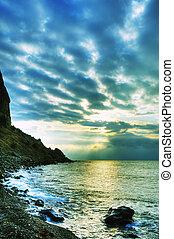 montagnes, couleur, résumé, -, littoral, nuit