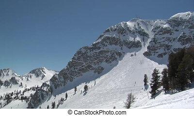 montagnes, coup, neige, recours, couvert, ski