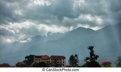 montagnes, défaillance, hôtels, temps