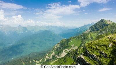 montagnes, défaillance, kaukaz, temps
