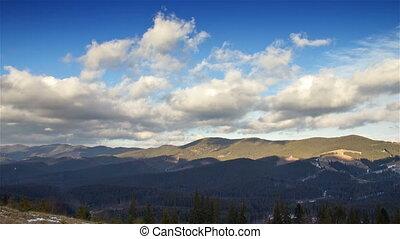 montagnes, défaillance, nuages, temps
