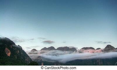 montagnes, défaillance, temps matin