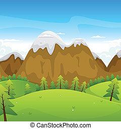 montagnes, dessin animé, paysage