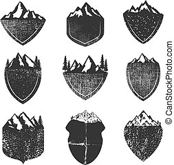 montagnes, ensemble, grunge, isolé, fond, blanc, insignes