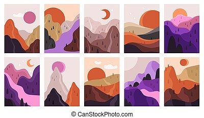 montagnes, esthétique, vecteur, rivière, remettre ensemble, scènes, contemporain, minimaliste, paysage., affichage montagne, landscapes., illustration, résumé, dessiné