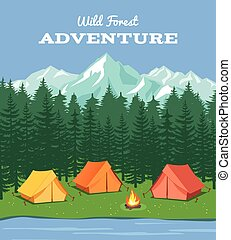 montagnes, extérieur, camping., nature, camp, illustration, forêt, vecteur, fond, rivière, tente