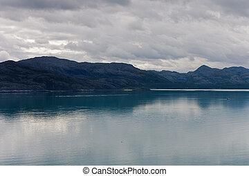 montagnes, fjords, couvert, vue
