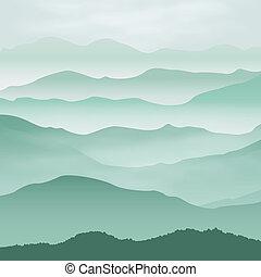 montagnes, fog., arrière-plan.