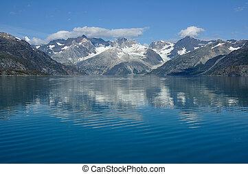 montagnes, glacier, national, alaska, baie, parc