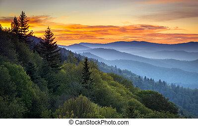 montagnes, grand, négliger, cherokee, scénique, enfumé, nc, parc, gatlinburg, tn, levers de soleil, entre, oconaluftee, national, paysage