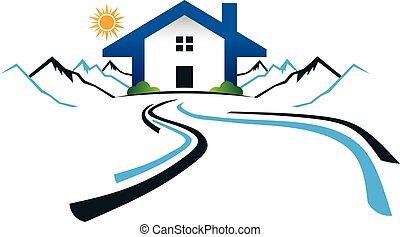 montagnes, graphique, maison, vecteur, conception, logo., route