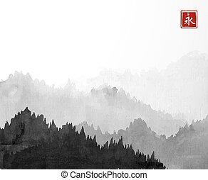 montagnes, hiéroglyphe, sumi-e, -, arbres, traditionnel, arrière-plan., brouillard, forêt noire, encre, oriental, blanc, eternity., peinture, u-sin, go-hua