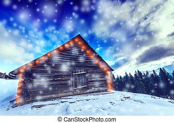 montagnes, hiver, neigeux, -, neige, arbres, givre, fond, couvert, noël