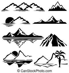montagnes, icônes