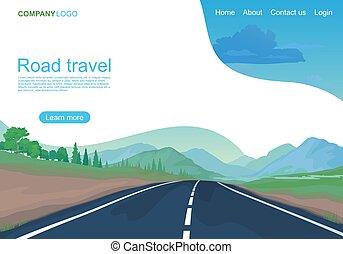 montagnes, illustration, route, vecteur, champs, page