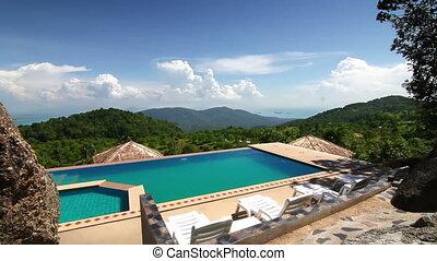 montagnes, luxe, piscine