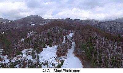 montagnes, métrage, aérien, hiver, saison