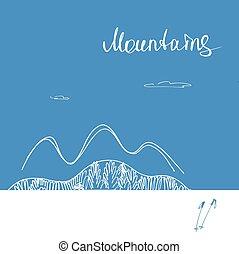 montagnes., montagnes, logo., vecteur, en avant!, affiche