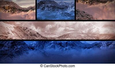 montagnes, neigeux, (1130), coucher soleil, composition, boucle