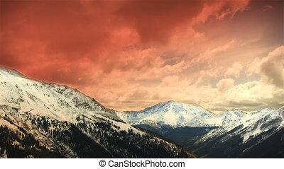 montagnes, nuages, colorado, hiver, loop!, timelapse, neige, tôt, coucher soleil, ski, (1151)