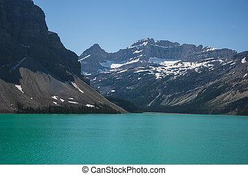 montagnes, parc national, lac, banff