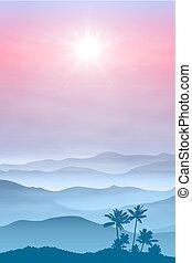 montagnes, paume, brouillard, arbre, fond