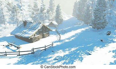 montagnes, peu, cabine, neigeux