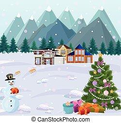montagnes, peu, hiver, neigeux, arbre, arrière-plans, maisons, holidays., snowman., noël, vue