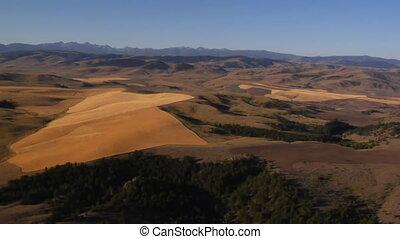 montagnes, prise vue aérienne, champs, distance