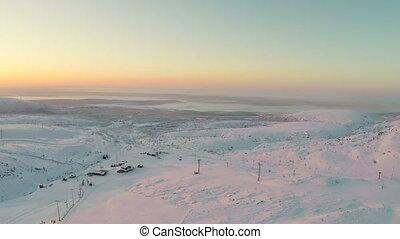 montagnes, prise vue aérienne, hiver, levers de soleil