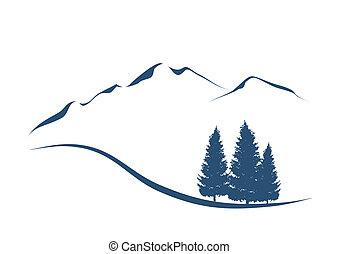 montagnes, projection, illustration, stylisé, sapins, paysage, alpin