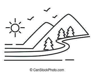 montagnes, rivière, croquis, paysage, collines, forêt, contour