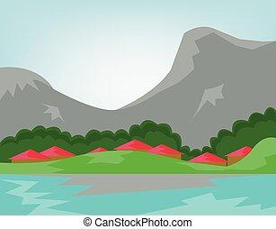 montagnes, rivière, forêt, travers, village