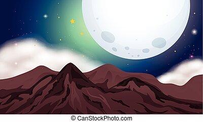 montagnes, scène nuit, nature