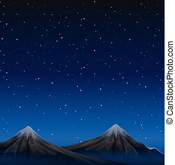 montagnes, scène, nuit
