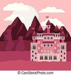 montagnes, silhouette, coloré, contes, coucher soleil, château, fée, paysage
