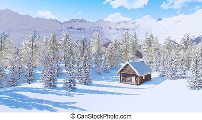 montagnes, snowbound, hiver, maison, jour, bois construction
