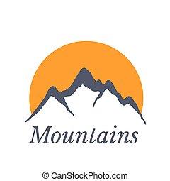 montagnes, soleil, illustration, vecteur, logo
