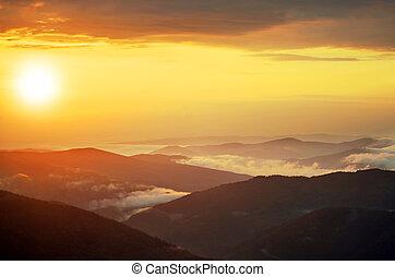 montagnes, soleil, paysage, printemps