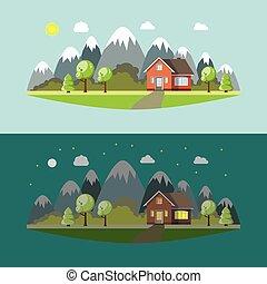 montagnes, solitaire, jour, nuit, maison