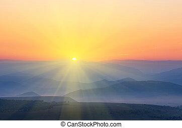 montagnes, sur, rayons, ascensions, soleil