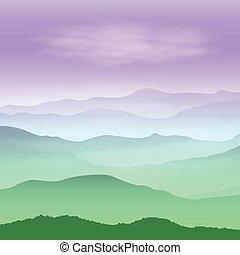 montagnes, time., arrière-plan vert, coucher soleil, fog.