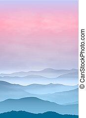 montagnes, time., coucher soleil, fog., fond
