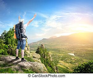 montagnes, touriste