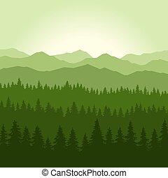 montagnes, vecteur, arrière-plan., conifère, brouillard, forêt, vert